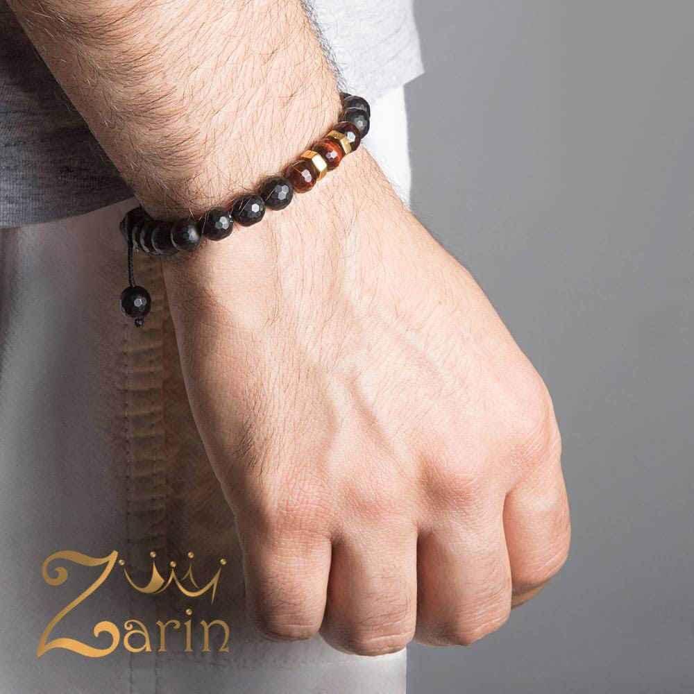 دستبند طلا طرح دو مهره مردانه