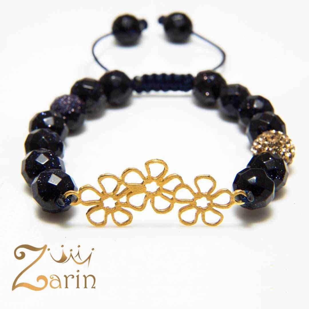 دستبند طلا طرح سه گل با سنگ اونیکس