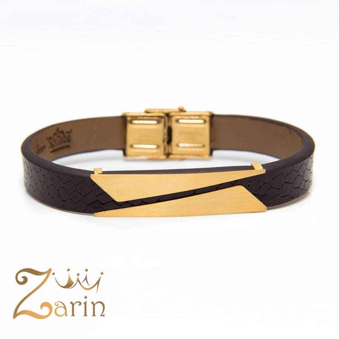 دستبند طلا چرم مردانه طرح کات