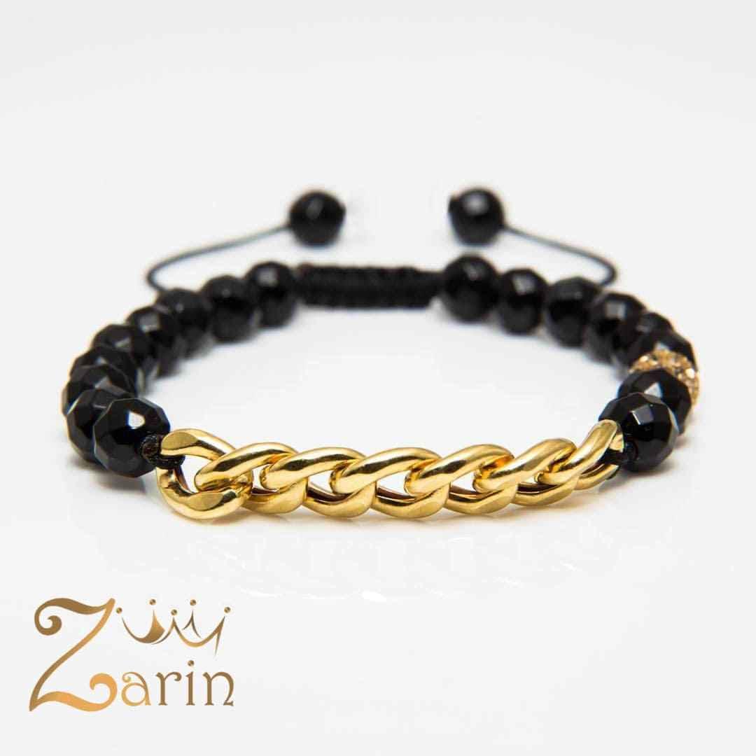 دستبند طلا طرح کارتیه زنانه با سنگ اونیکس