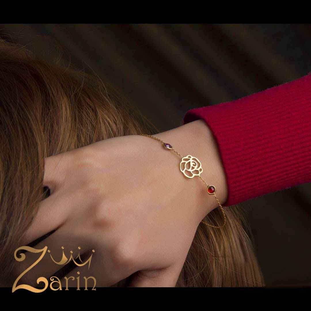 دستبند طلا طرح مارکو با گل رز