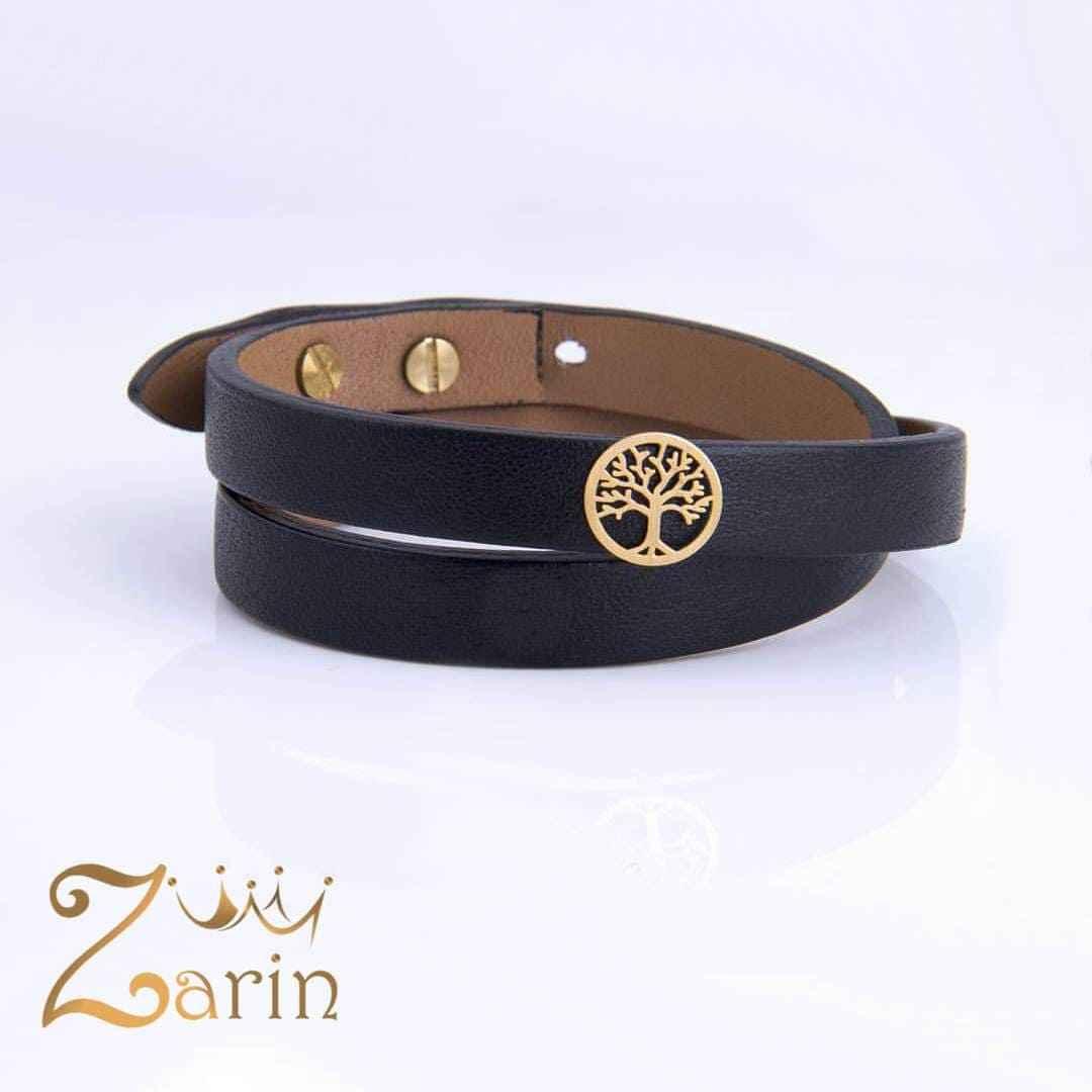 دستبند چرم طلا با طرح درخت