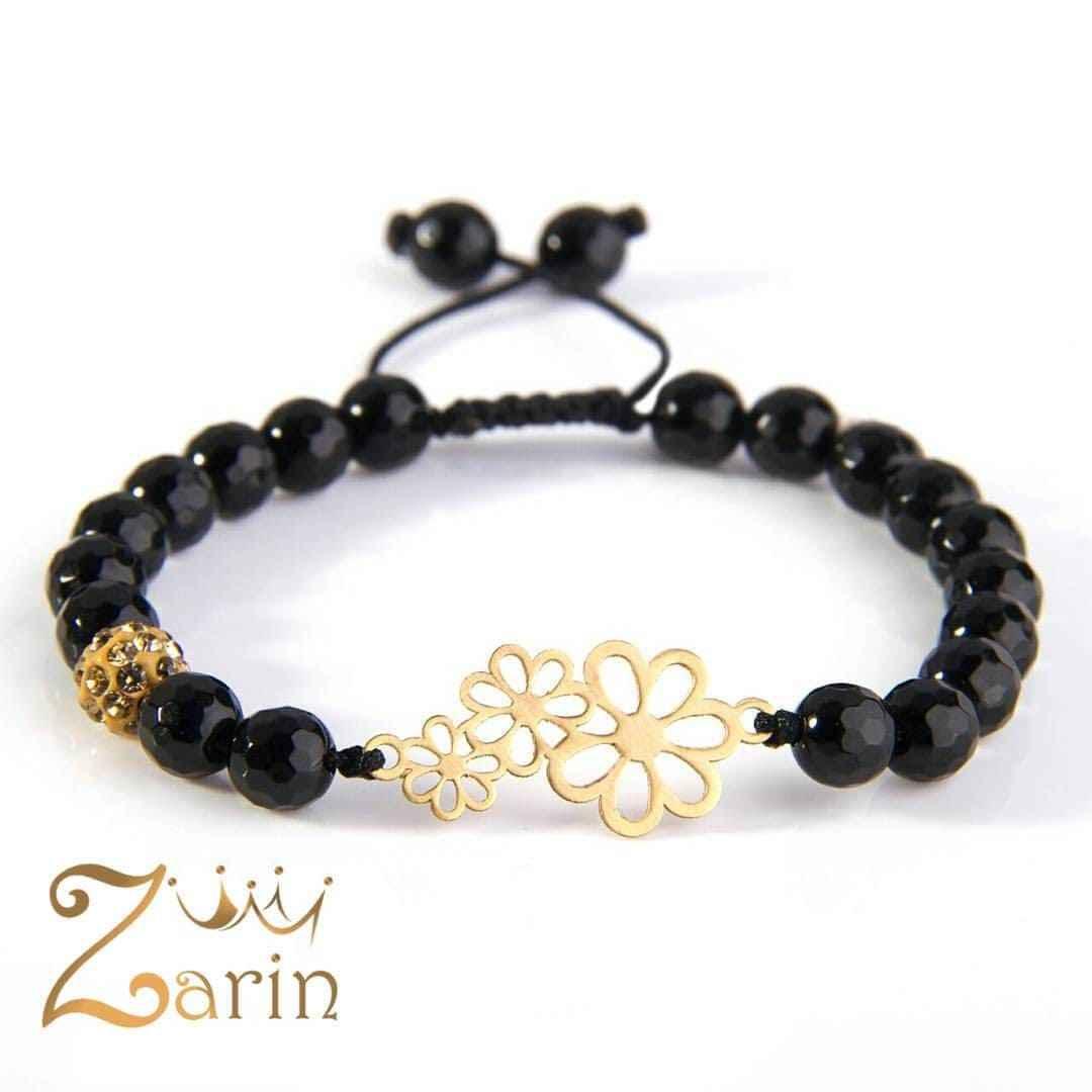 دستبند طلا طرح سه گل با سنگ انیکس