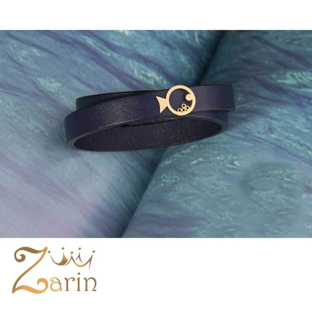 دستبند چرم طلا طرح ماهی با چرم هورس دو دور زنانه