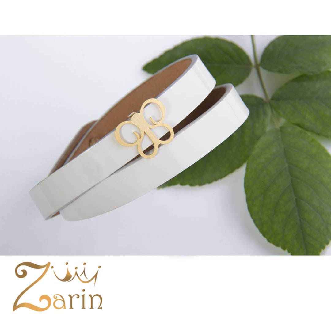 دستبند چرم طلا طرح پروانه با چرم هورس دو دور سفید