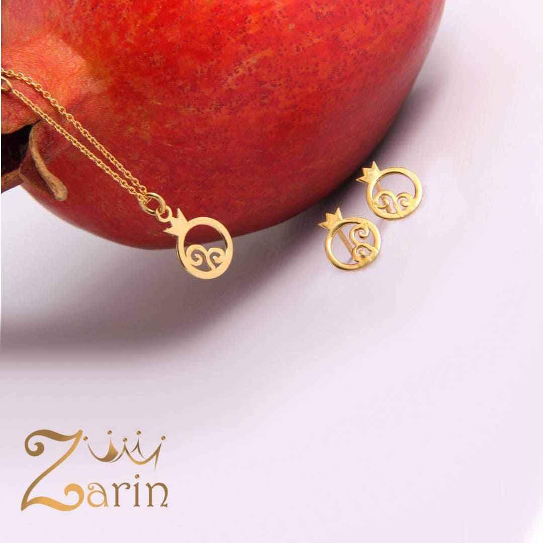 نیم ست طلای گوشواره و آویز انار