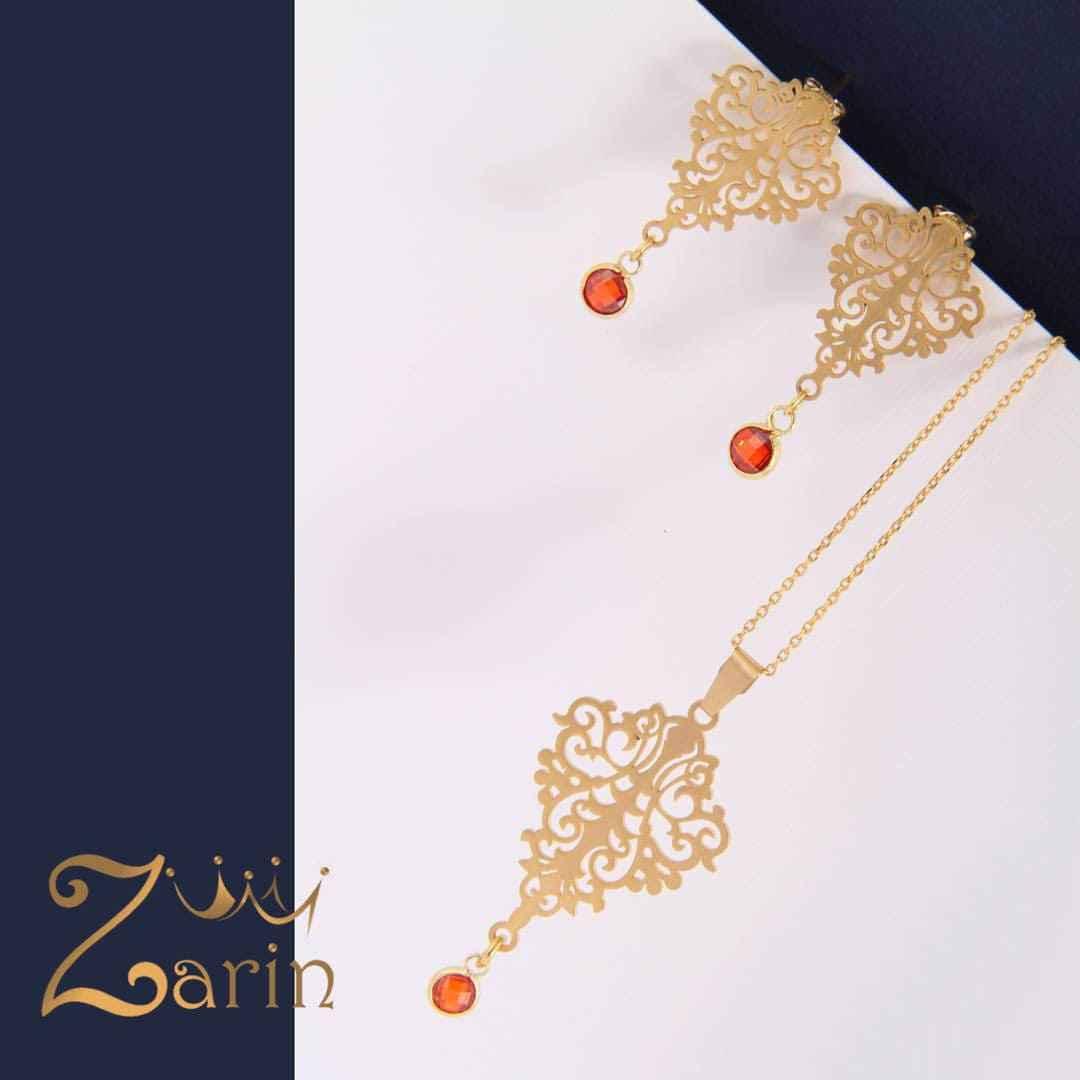 نیم ست طلا طرح اسلیمی با امکان تغییر رنگ سنگ