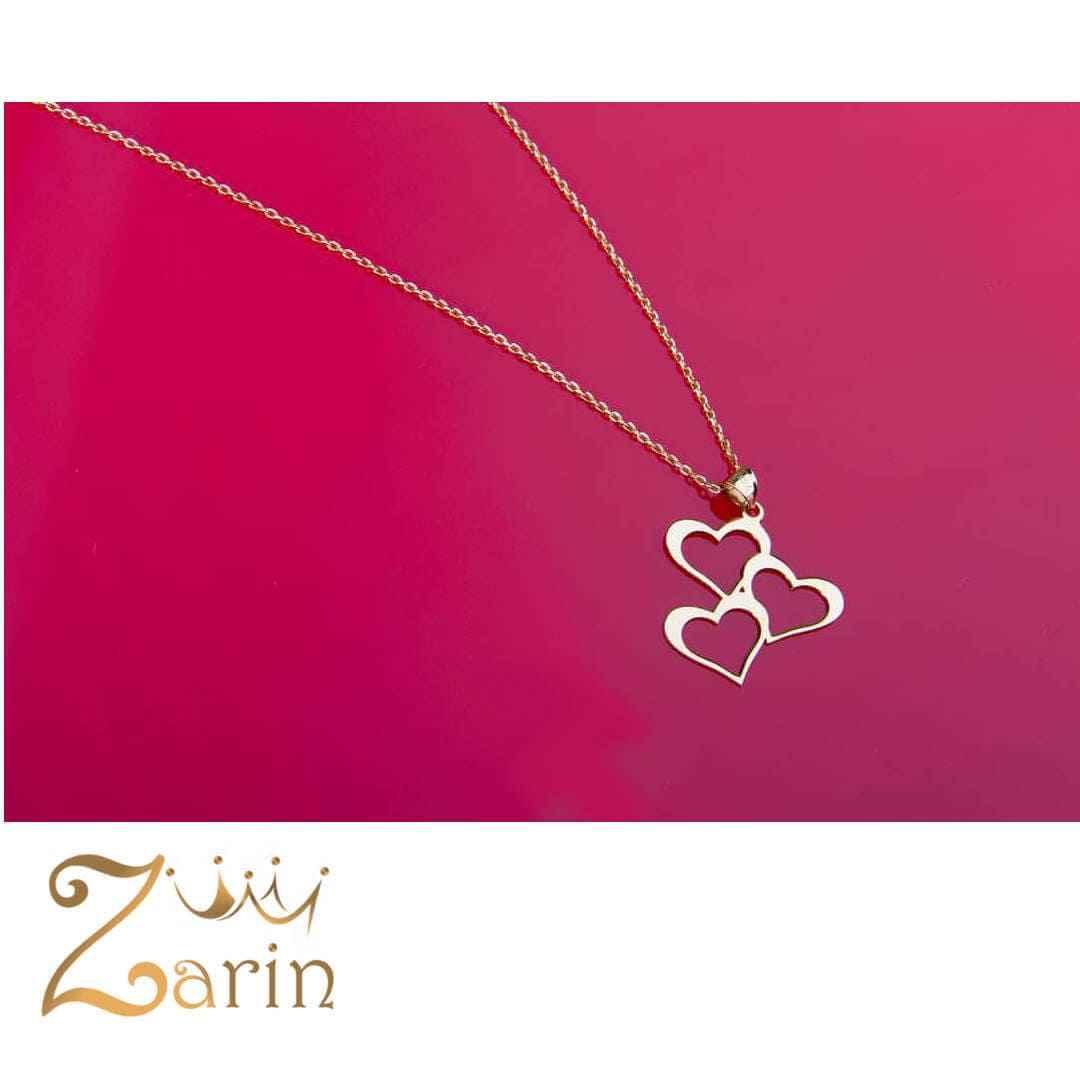 گردنبند طلا طرح سه قلب با زنجیر طلا