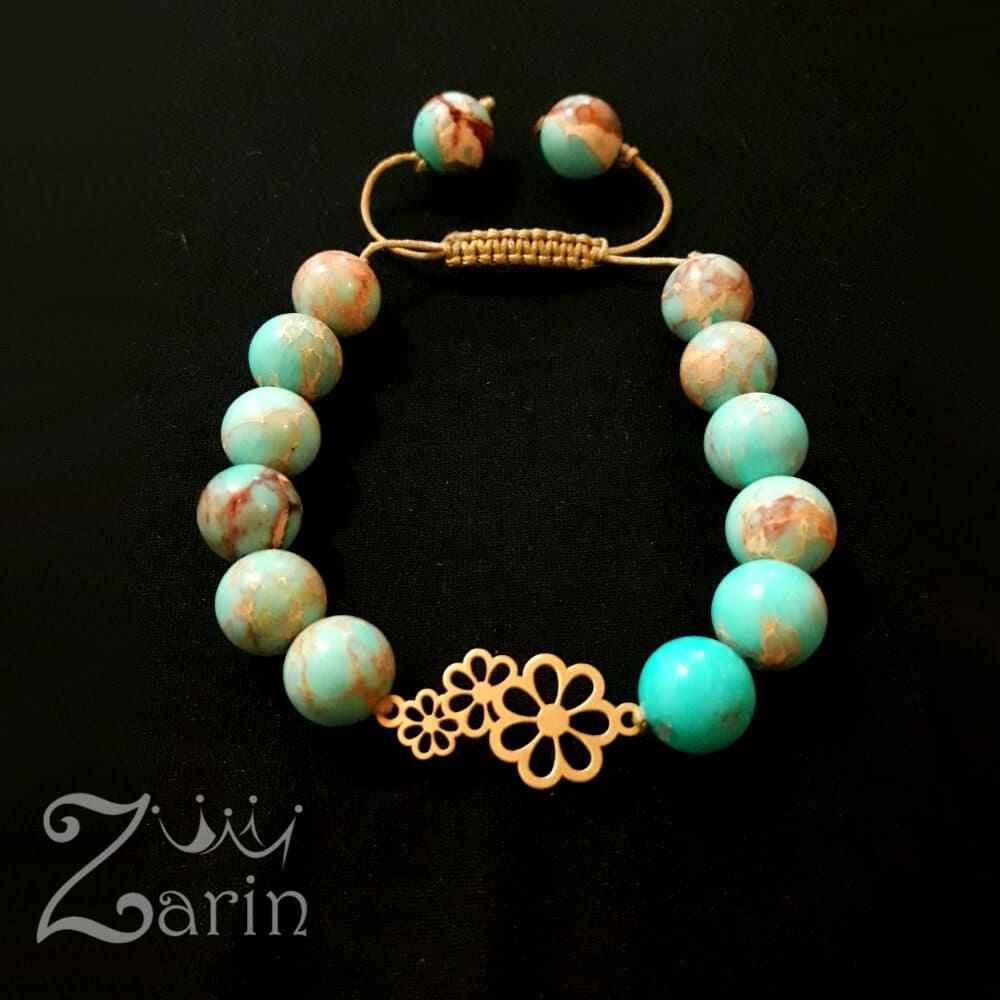 دستبند طلا طرح سه گل با سنگ فیروزهی آفریقایی