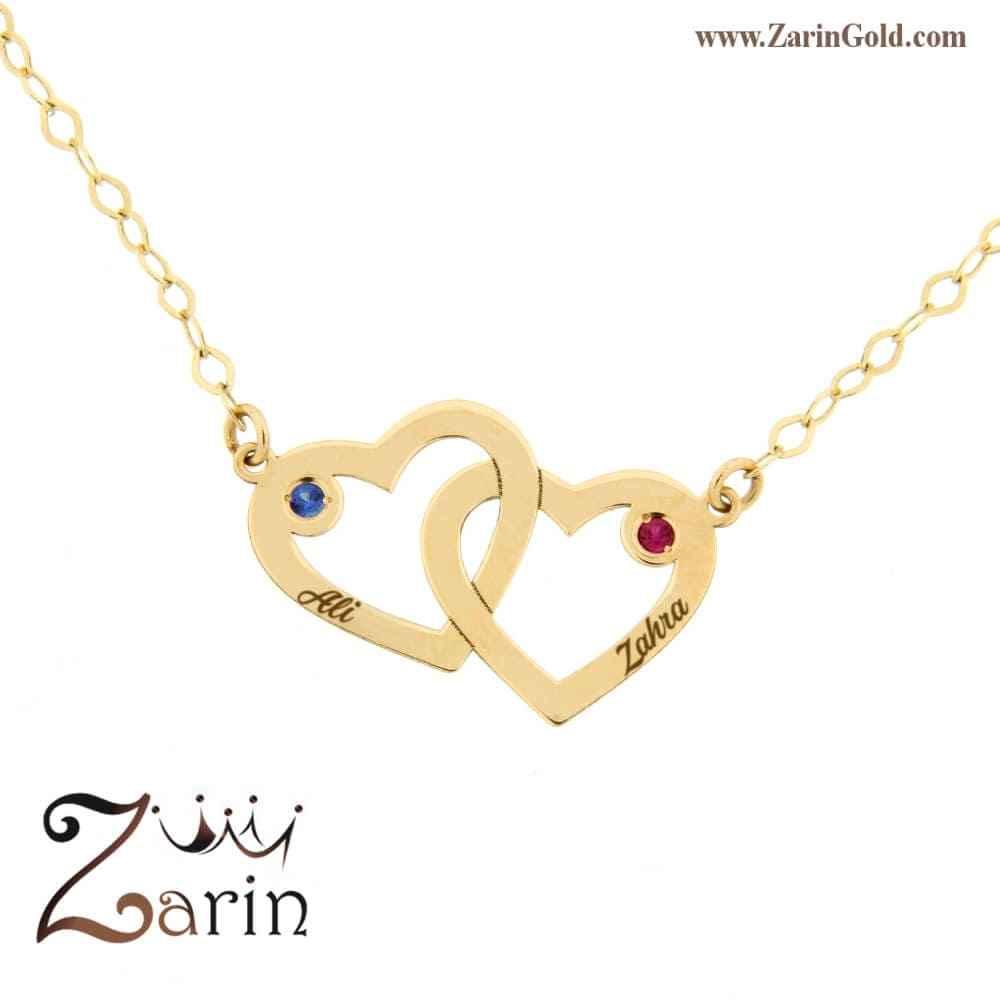 گردنبند طلای دو قلب در هم با حک اسم