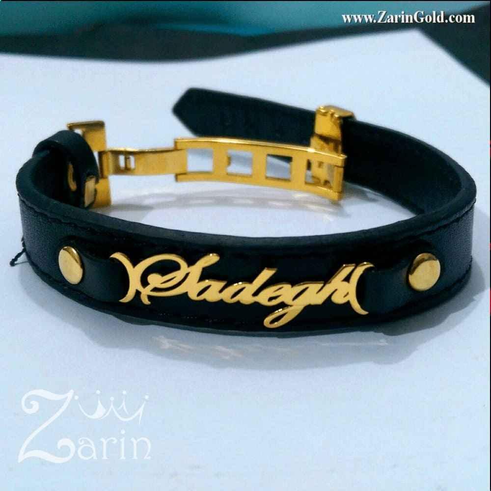 دستبند اسم صادق با چرم رولکسی