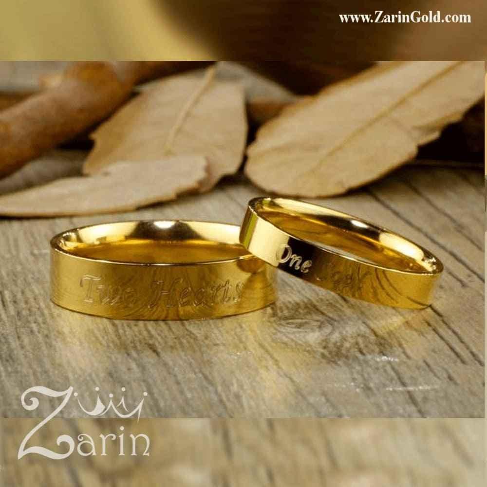 حلقه نامزدی و ازدواج تخت با حک اسم و تاریخ (تک)