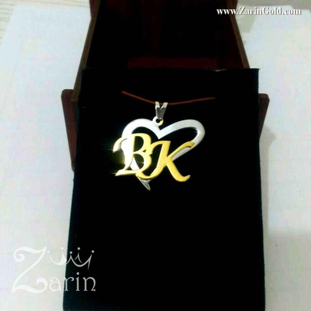 پلاک حروف اول اسم و قلب با طلای سفید
