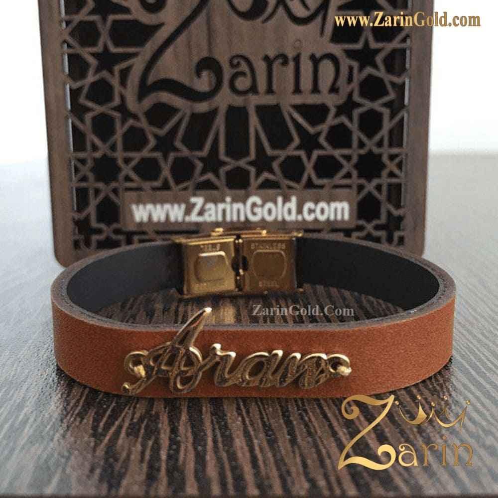 دستبند طلای کودکانه با چرم