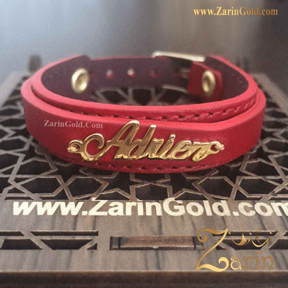 دستبند طلا و چرم اسم Adrien