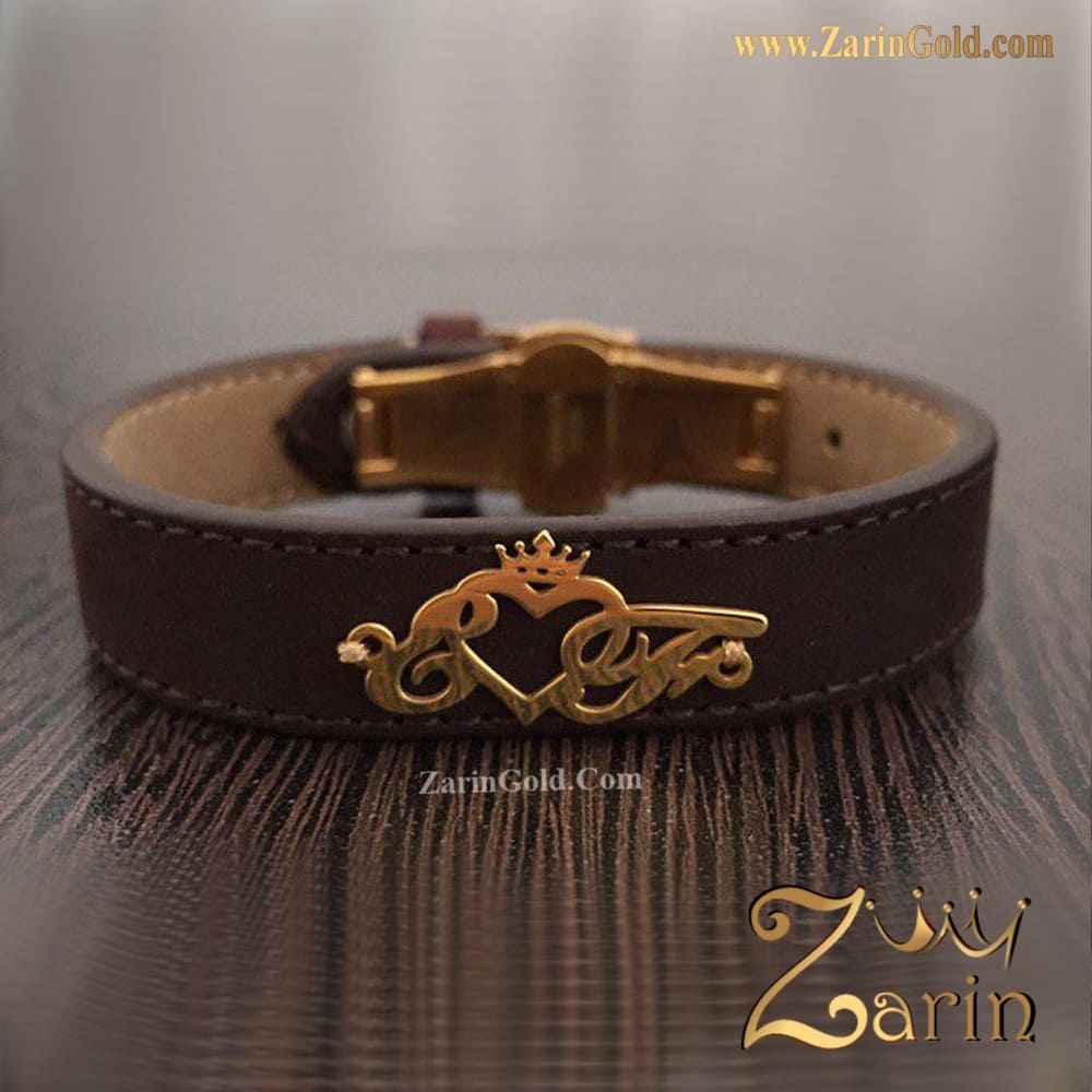 دستبند چرم طرح حروف و تاج E&F
