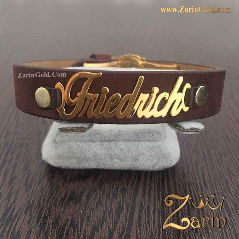 دستبند چرم و طلای اسم Friedrich