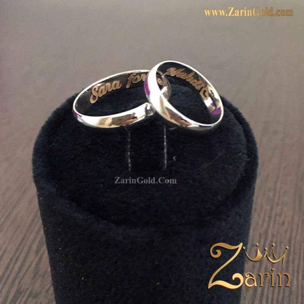 حلقه ازدواج طلا سفید با حک زرد (تک)