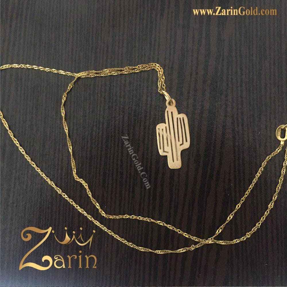 گردنبند طلا سفارشی طرح کاکتوس