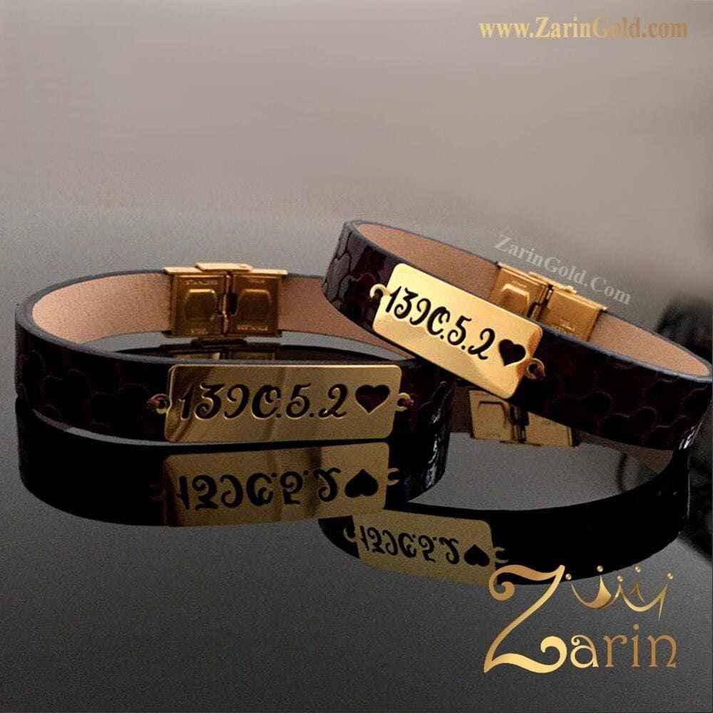 دستبند چرم طلا طرح سفارشی تاریخ