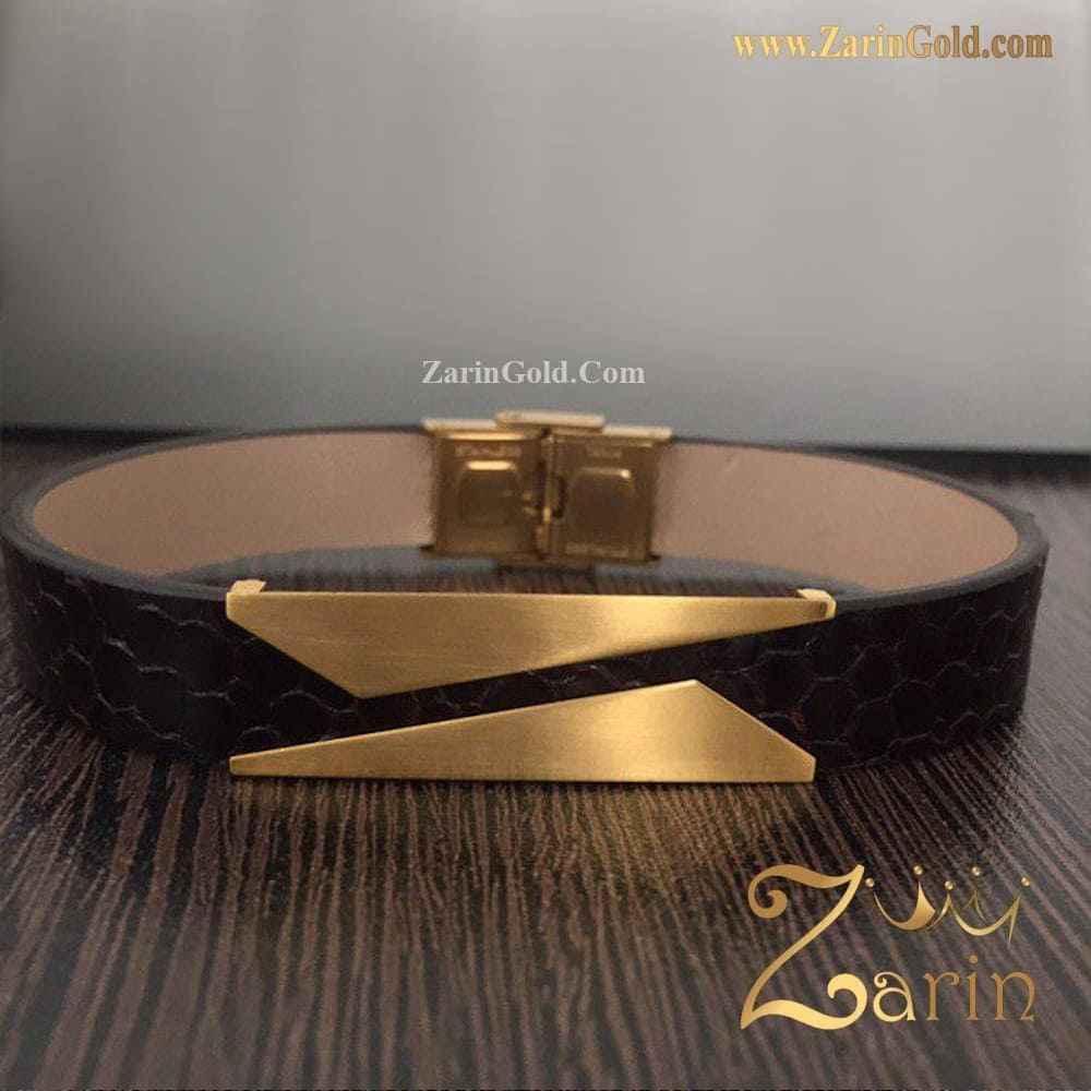 دستبند چرم طلا مدل کات