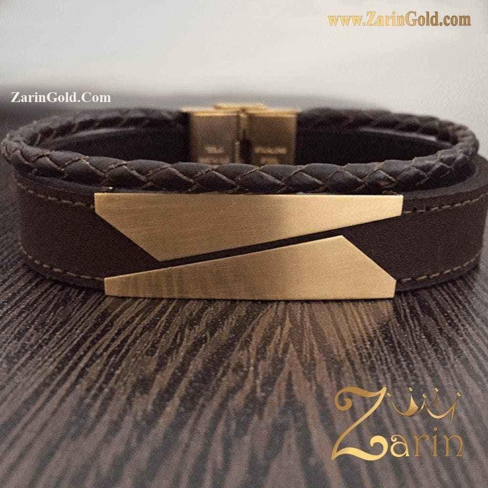 دستبند طلا و چرم مردانه طرح کات