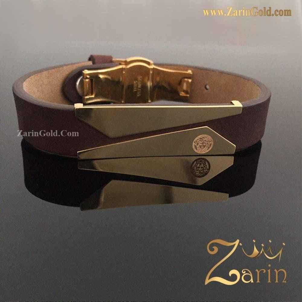 دستبند طلا چرم کات با حک روی پلاک