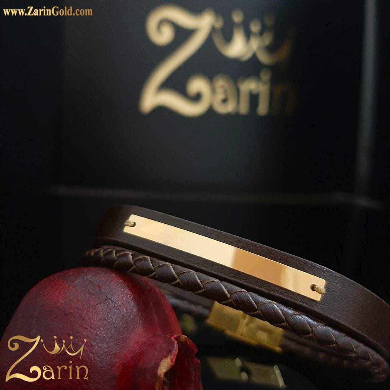 دستبند طرح آینه با چرم قهوهای