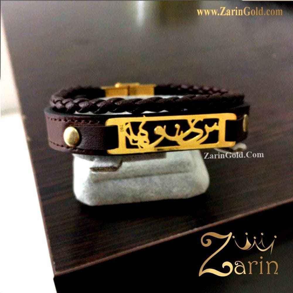 دستبند چرم و طلا اسم سینوهه با فریم
