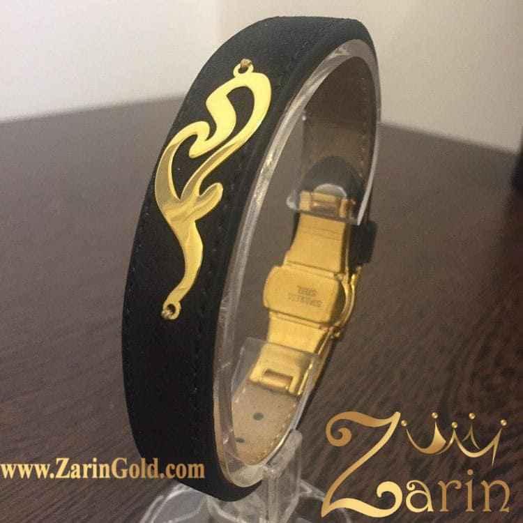 دستبند چرم و طلای اسم سفارشی مادر