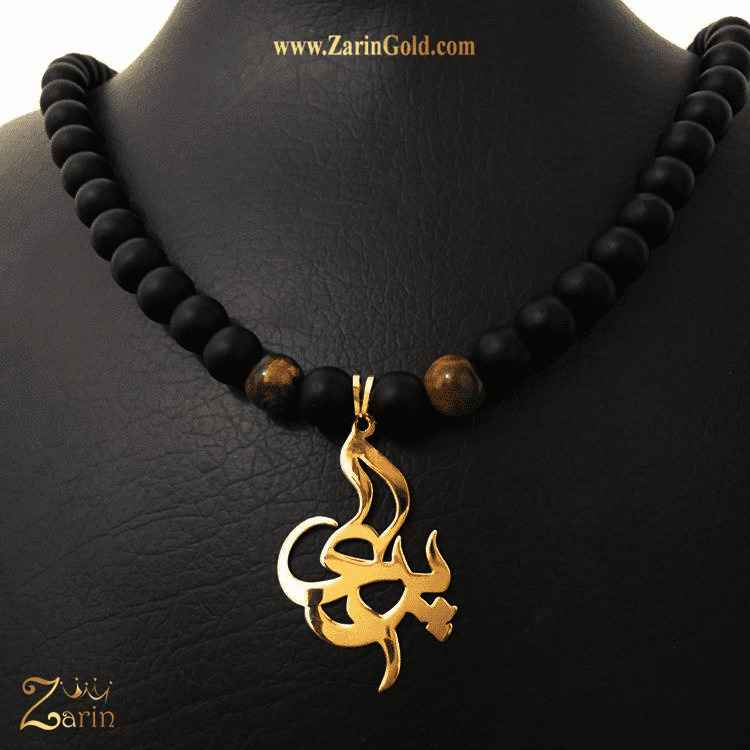 پلاک طلا اسم فارسی پری با سنگ اونیکس