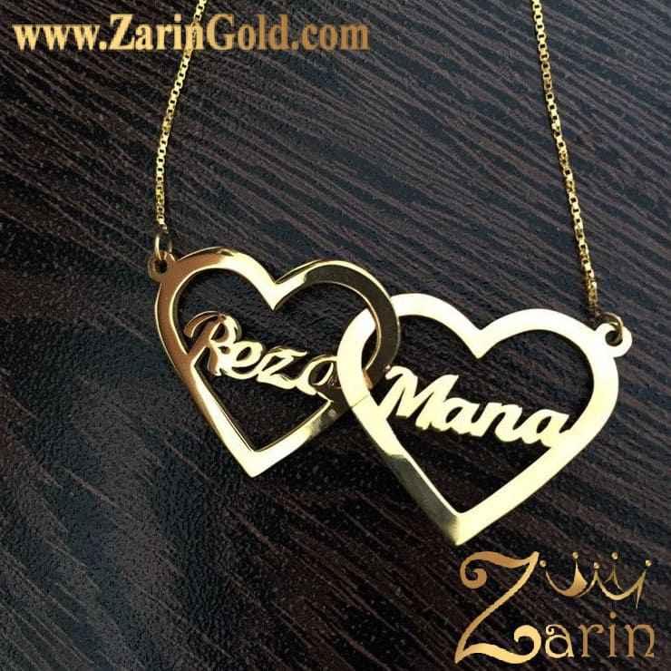 پلاک طلا دو اسم رضا و مانا با زنجیر
